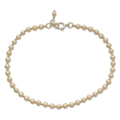 Elegant Handmade Sterling Silver and Pearls Anklet