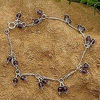 Garnet anklet, 'Fire Dancer' - Indian Garnet and Sterling Silver Anklet