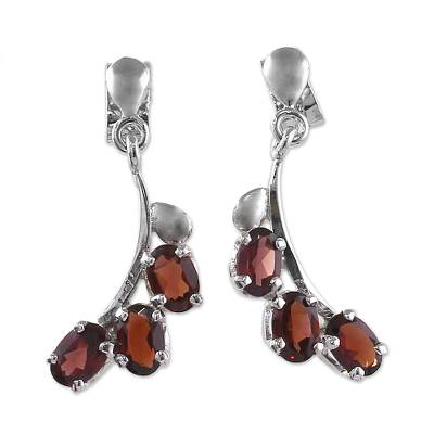 Garnet flower earrings, 'Bright Blossoms' - Sterling Silver and Garnet Earrings Artisan Jewelry
