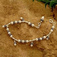 Cultured pearl charm bracelet,
