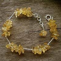 Citrine cluster bracelet, 'Sunrise' - Sterling Silver and Citrine Artisan Crafted Bracelet