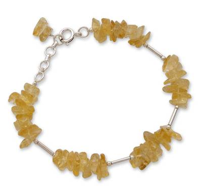 Sterling Silver and Citrine Artisan Crafted Bracelet