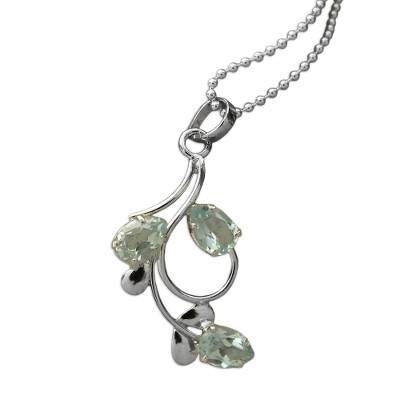 Blue topaz pendant necklace, 'Ethereal Dew' - Unique Sterling Silver and Blue Topaz Necklace