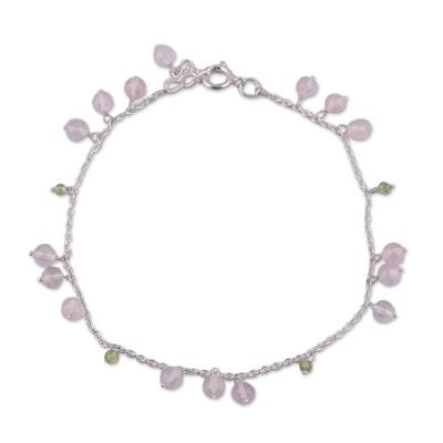Rose quartz and peridot anklet, 'Love Harmony' - Rose Quartz and Peridot Indian Anklet