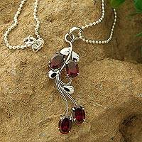 Garnet flower necklace, 'Love Bouquet' - Sterling Silver and Garnet Pendant Necklace
