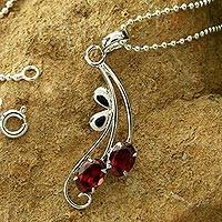 Garnet  flower necklace, 'Sinuous Red' - Handcrafted Sterling Silver and Garnet Necklace