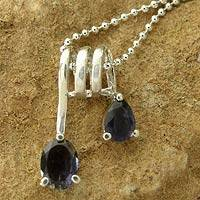 Iolite pendant necklace, 'Hypnotic Fantasy' - Hand Made Sterling Silver and Iolite Modern Necklace