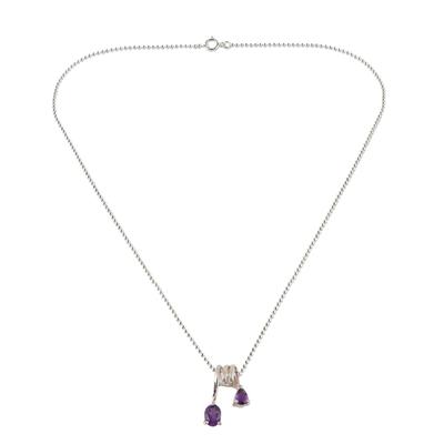 Amethyst pendant necklace, 'Hypnotic Fantasy' - Amethyst Pendant Necklace