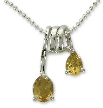 Handmade Sterling Silver and Citrine Necklace