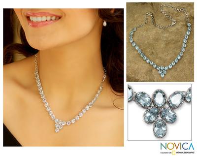 Blue topaz Y necklace, 'India Delight' - Blue topaz Y necklace