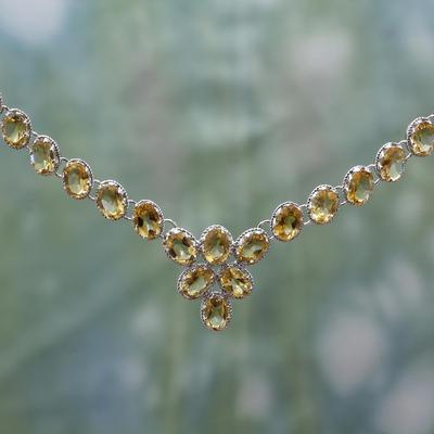 Citrine Y necklace, 'India Delight' - Citrine Y necklace