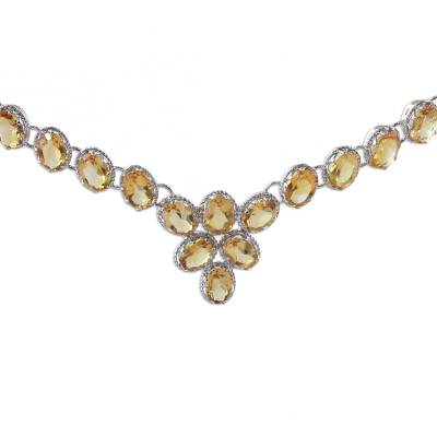 Citrine Y necklace, 'India Delight' - Citrine Y necklace