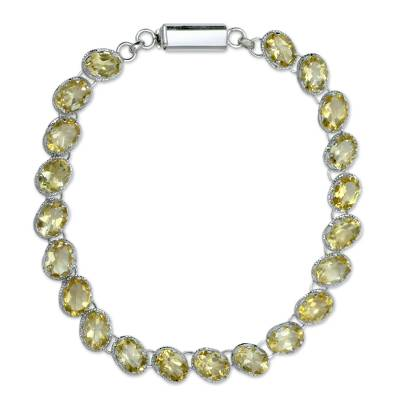Sterling Silver Tennis Style Citrine Bracelet from India