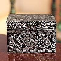 Brass jewelry box, 'Persian Paradise'
