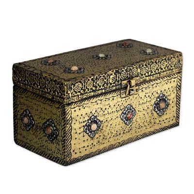 Brass jewelry box u0027Mughal Treasure Chestu0027 - Handcrafted Repousse Brass Jewelry Box  sc 1 st  Novica & Handcrafted Repousse Brass Jewelry Box - Mughal Treasure Chest ... Aboutintivar.Com