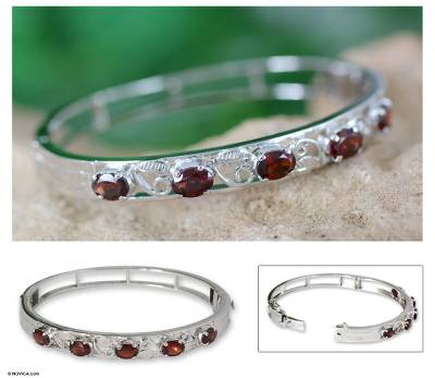 Garnet floral bracelet, 'Blossoming Delhi' - Silver and Garnet Bangle Bracelet