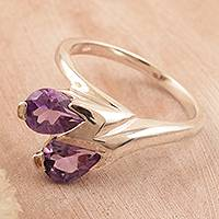 Amethyst floral ring, 'Rose of Dreams' - Amethyst floral ring