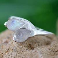 Moonstone floral ring, 'Rose of Passion' - Moonstone and Sterling Silver Ring from India Modern Jewelry