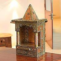 Mango wood altar, 'Temple' - Beaded Mango Wood and Brass Altar