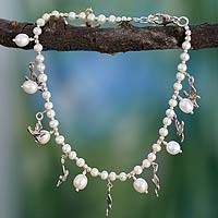 Pearl anklet, 'Doves of Peace' - Fair Trade Pearl and Silver Anklet