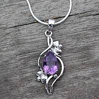 Amethyst flower necklace, 'Bengal Blossom' - Amethyst flower necklace
