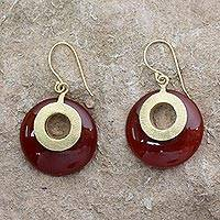 Gold vermeil dangle earrings, 'Skylight' - India Gold Vermeil Earrings with Red Onyx from India