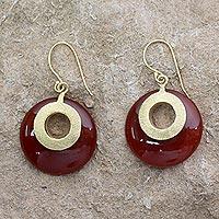 Gold vermeil dangle earrings, 'Skylight' - India Gold Vermeil Earrings with Red Onyx from India