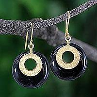 Gold vermeil onyx dangle earrings, 'Skylight' - Gold Vermeil Onyx Dangle Earrings