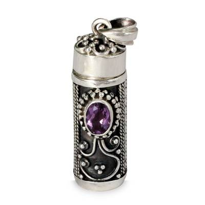 Amethyst locket pendant, 'Hear My Prayer' - Sterling Silver Prayer Box Amethyst Pendant from India