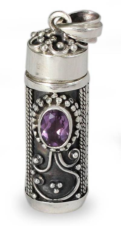 Sterling Silver Prayer Box Amethyst Pendant from India