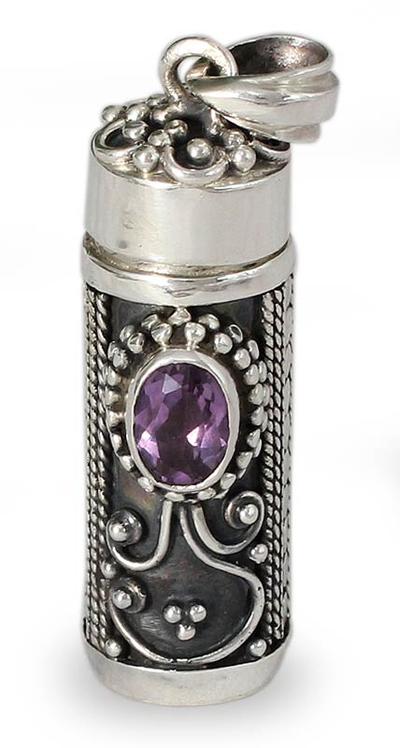 Amethyst locket pendant, 'Hear My Prayer' - Sterling Silver Prayer Box Amethyst Pendant from India