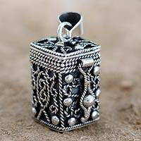 Sterling silver locket pendant, 'Prayer Box' - Square Locket Pendant Artisan Crafted Silver Jewelry