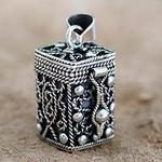 Square Locket Pendant Artisan Crafted Silver Jewelry, 'Prayer Box'
