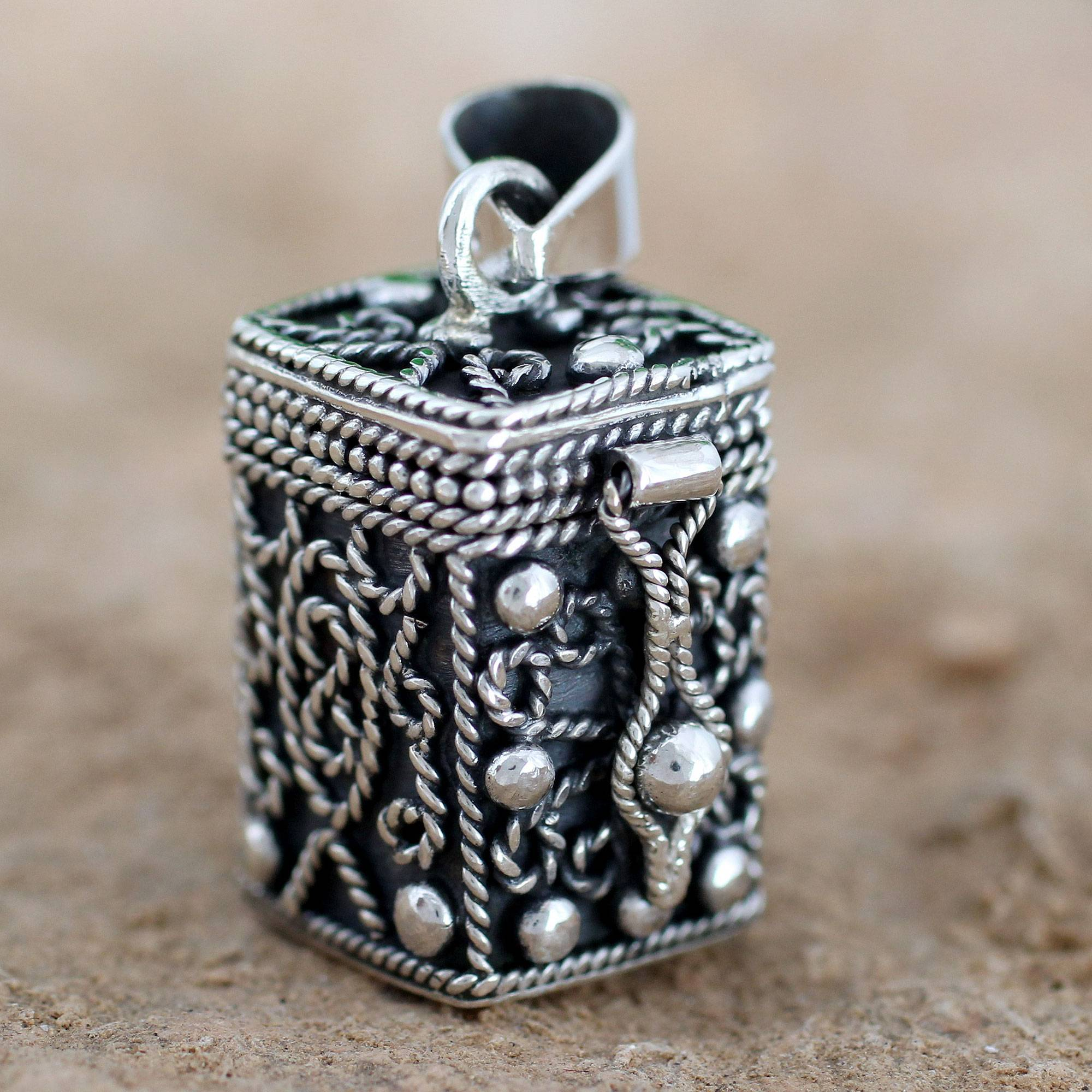 Pendants at novica sterling silver locket pendant prayer box square locket pendant artisan crafted silver mozeypictures Image collections