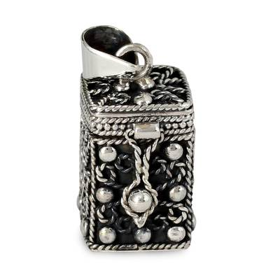 Square Locket Pendant Artisan Crafted Silver Jewelry
