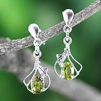 Peridot flower earrings, 'Meadow Romance' - Peridot flower earrings