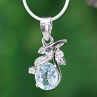 Blue topaz flower necklace, 'In Love' - Blue topaz flower necklace