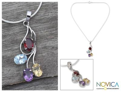 Multi-gemstone flower necklace, 'Summer Bouquet' - Citrine and garnet flower necklace