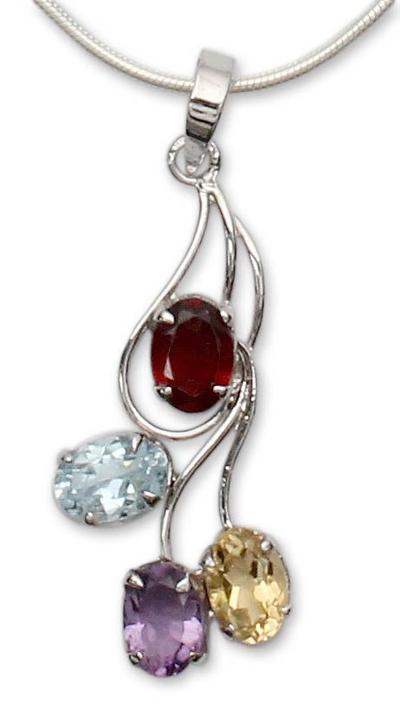 Multi-gemstone flower necklace, 'Summer Bouquet' - Citrine and garnet flower necklace