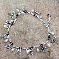 Pearl and garnet anklet, 'Dragonfly Reunion' - Sterling Silver Beaded Anklet with Dragonfly Charms