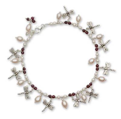 Pearl and garnet anklet, 'Dragonfly Reunion' - Pearl and Garnet Anklet on Sterling Silver Indian Jewelry