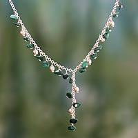 Malachite Y necklace, 'Natural Harmony' - Malachite Y necklace