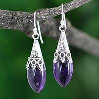 Amethyst dangle earrings, 'Kerala Princess'