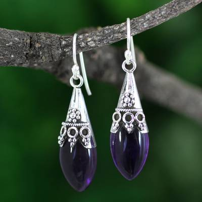 Amethyst dangle earrings, 'Kerala Princess' - Sterling Silver and Amethyst Dangle Earrings