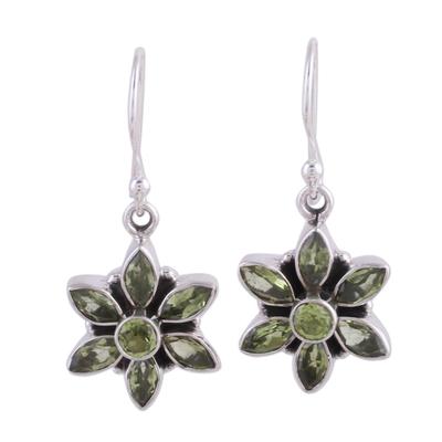 Handmade Sterling Silver and Peridot Flower Earring