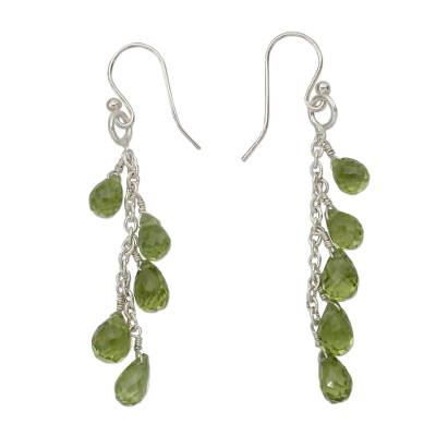 Peridot dangle earrings, 'Waterfall' - Dangling Peridot Earrings Hand Crafted in India