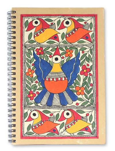 Madhubani journal, 'Festive Birds' - Madhubani painting journal