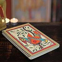 Madhubani journal, 'Mango Bird' - Handpainted Bird Journal 40 Pages of Handmade Paper