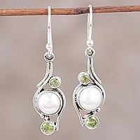 Pearl and peridot dangle earrings, 'Sublime India' - Dangling Pearl and Peridot Sterling Silver Earrings