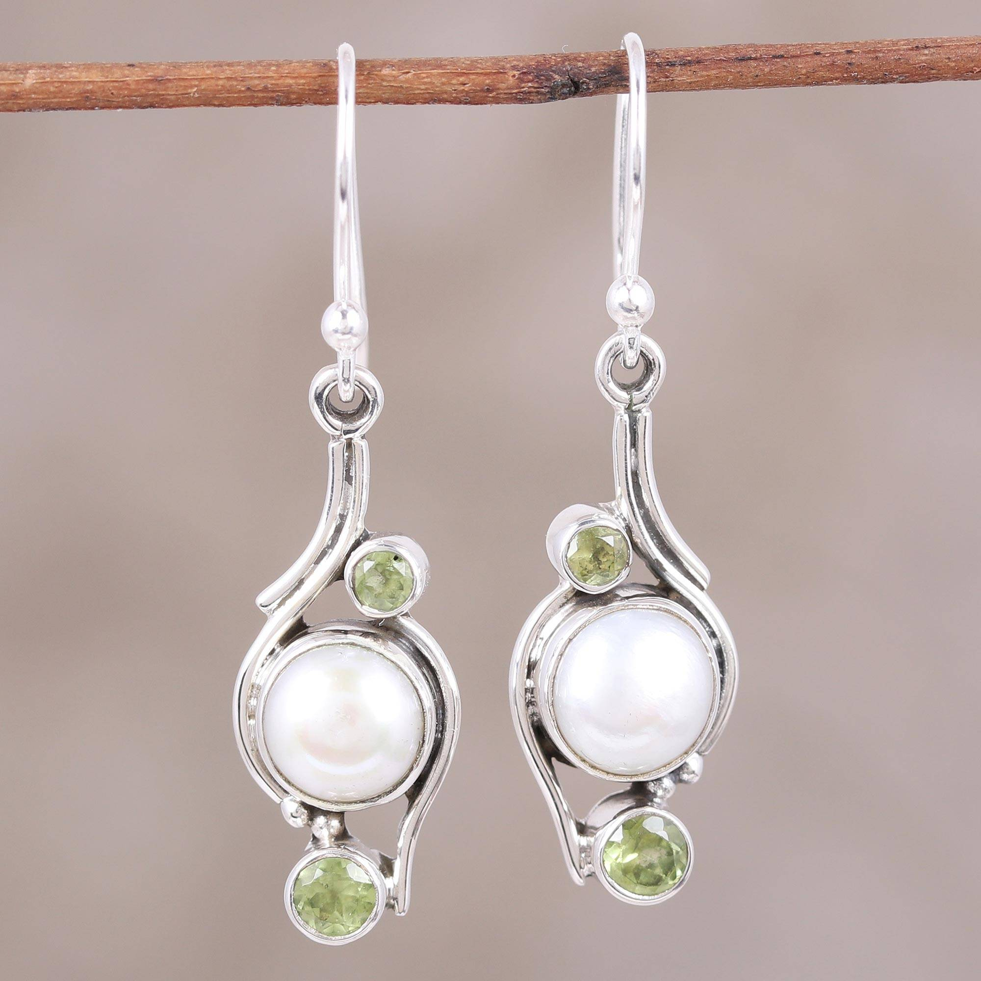 Peridot gemstone and Elegant FreshWater Pearl Earrings FAB Amethyst
